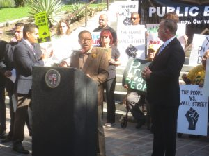 Los Angeles City Council President Herb Wesson announcing that the first public bank in California is coming to Los Angeles.