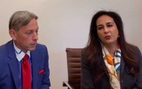 Mark Meuser and Harmeet Dhillon announcing lawsuit against the California Secretary of State and the Director of the Department of Motor Vehicles. (press conference, Facebook)